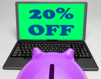 Twenty Percent Off Laptop Shows 20 Discounts Royalty Free Stock Photo