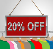Twenty Percent Off Means Shirt Bargains And Board Royalty Free Stock Image
