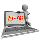 Twenty Percent Off Monitor Means Deduction. Twenty Percent Off Monitor Meaning Deduction Or Sale Online Stock Photos