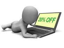 Twenty Percent Off Monitor Means 20% Deduction Or Sale Online Stock Images
