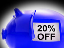 Twenty Percent Off Piggy Bank Message Shows 20 Discount Royalty Free Stock Photo