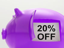 Twenty Percent Off Piggy Bank Shows 20 Discount Royalty Free Stock Photos