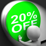 Twenty Percent Off Pressed Shows 20 Price Reduction Stock Photo