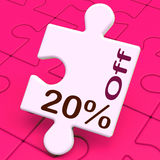 Twenty Percent Off Puzzle Means Discount Or Sale 20% Royalty Free Stock Photos