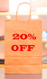 Twenty percent off. A sale in clothing store giving you 20 percent off on all of their items Stock Image