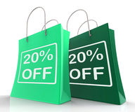 Twenty Percent Off On Shopping Bags Shows 20 Bargains Stock Photos