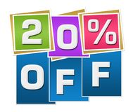 Discount 20 Percent Off Colorful Squares Stripes. Twenty percent off text written over colorful blue background Stock Photo