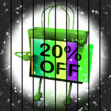 Twenty Percent Reduced On Bags Shows 20 Bargains. ITwenty Percent Reduced On Bags Shows 20 Royalty Free Stock Photo