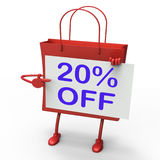 Twenty Percent Reduced On Shopping Bags. Shows 20 Bargains Stock Photos