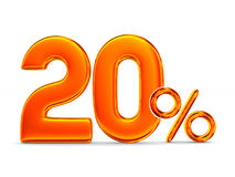 Twenty percent on white background. Isolated 3D illustration Stock Photo