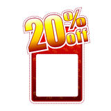 Twenty percentage off label with text space. Twenty percentage off - red and yellow label with text space and rate sign, sale concept Royalty Free Stock Photography