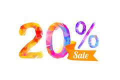 20 twenty percents sale. Vector triangular digits Stock Photography