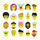 Twenty pixel art faces isolated vector set Royalty Free Stock Images