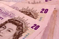 Twenty pound banknotes. A stack of twenty pound banknotes Royalty Free Stock Photography