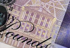 Twenty Pound Note Detail. Detail of English twenty pound note showing illustration of The Bank of England stock photos