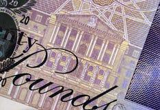 Twenty Pound Note Detail. Detail of English twenty pound note showing illustration of The Bank of England Stock Photos
