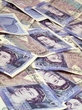 Twenty Pound Notes Backdrop Stock Photos