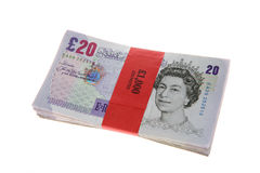 Twenty Pound Notes Wad Bundle Stock Photo