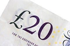 Twenty pounds. Close up macro photo of a twenty pound note Royalty Free Stock Photo
