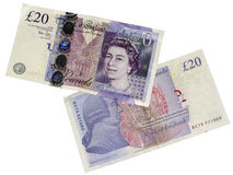 Twenty pounds. Front and rear side isolated Royalty Free Stock Images
