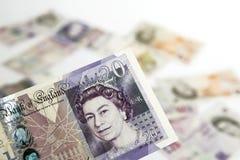 Twenty  pounds. On background of money Royalty Free Stock Photo