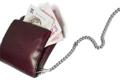 Twenty pounds. A wallet on a chain with two 20 pounds notes Stock Photos