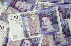 Twenty pounds notes Stock Images
