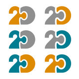 20 twenty puzzle linked number. Illustration for the web Stock Photos