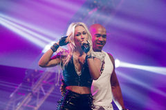 Twenty 4 Seven. ASSEN, NETHERLANDS - OCTOBER 17, 2014: Dutch Eurodance Act Twenty 4 Seven performs on stage during a 80s and 90s party, hosted by David Royalty Free Stock Photography