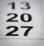 Twenty seven calendar. Close up black white twenty six calendar number Royalty Free Stock Photos