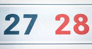 Twenty-seven and twenty-eight calendar dates close. Up Royalty Free Stock Image