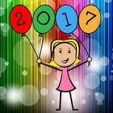 Twenty Seventeen Balloons Shows Young Woman And Kids Royalty Free Stock Image