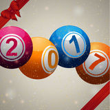 Twenty Seventeen bingo lottery ball background with ribbons and Royalty Free Stock Photo