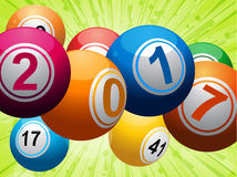 Twenty Seventeen bingo lottery balls on green Royalty Free Stock Photography