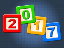 Twenty Seventeen Blocks Represents New Year And Annual Royalty Free Stock Image