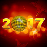 Twenty Seventeen with disco ball over festive glowing background Stock Photography