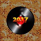 Twenty Seventeen golden tiles background and vinyl Stock Image