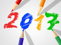 Twenty Seventeen Indicates New Year And Annual Royalty Free Stock Images