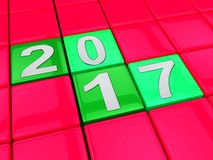 Twenty Seventeen Means 2017 Blocks 3d Rendering. Twenty Seventeen Meaning 2017 Blocks 3d Rendering vector illustration
