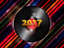 Twenty Seventeen New Year vinyl record background Stock Images