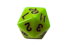 Twenty Sided Die. A lime colored twenty sided die for the game Dungeons and Dragons Royalty Free Stock Photography