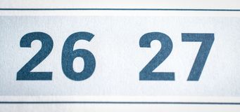 Twenty-six and twenty-seven calendar dates close. Up Stock Images