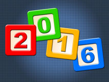Twenty Sixteen Blocks Indicates Happy New Year And Kids Royalty Free Stock Photography