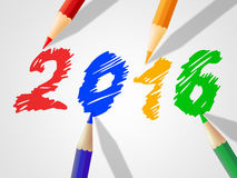Twenty Sixteen Means New Year And Kids Royalty Free Stock Image