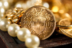 Twenty Swiss Francs coins Stock Photography
