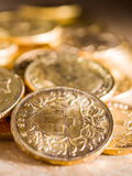 Twenty Swiss Francs coins Royalty Free Stock Images