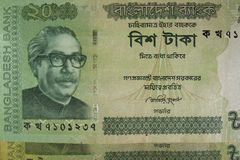 Twenty taka bills, Bangladesh. Bangladeshi banknotes are among the most dirty, contaminated ones in the world Royalty Free Stock Photos