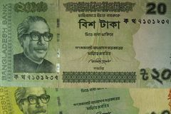 Twenty Taka bills, Bangladesh. Stock Photo