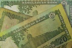 Twenty Taka bills, Bangladesh. Stock Photos