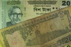 Twenty Taka bills, Bangladesh. Stock Image
